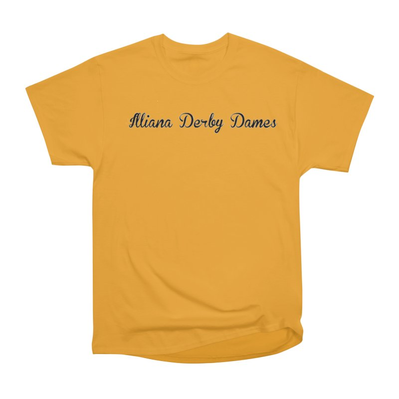 Black IDD script Women's Heavyweight Unisex T-Shirt by Illiana Derby Dames's Team Merch Shop