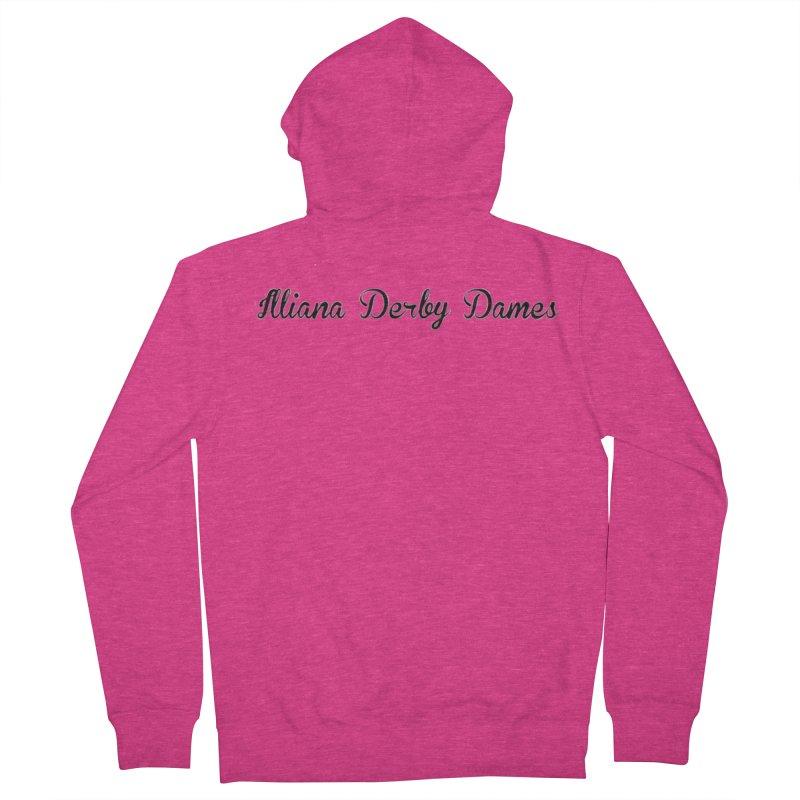 Black IDD script Women's French Terry Zip-Up Hoody by Illiana Derby Dames's Team Merch Shop