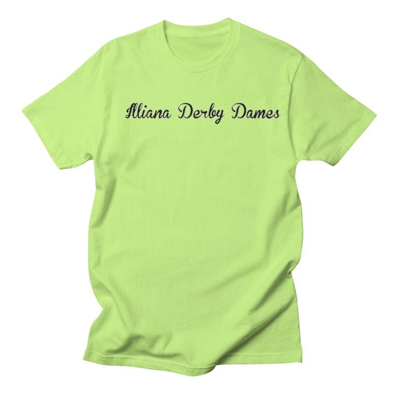 Black IDD script Women's Regular Unisex T-Shirt by Illiana Derby Dames's Team Merch Shop