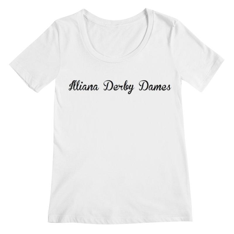 Black IDD script Women's Regular Scoop Neck by Illiana Derby Dames's Team Merch Shop
