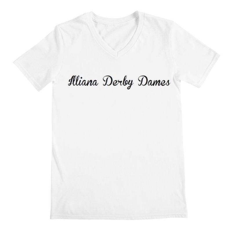 Black IDD script Men's V-Neck by Illiana Derby Dames's Team Merch Shop