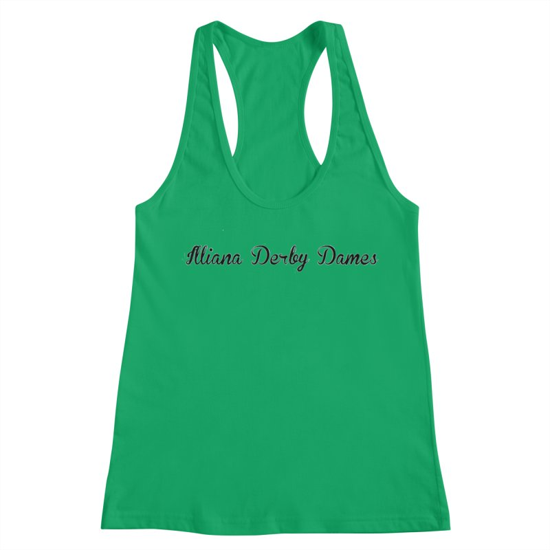 Black IDD script Women's Racerback Tank by Illiana Derby Dames's Team Merch Shop