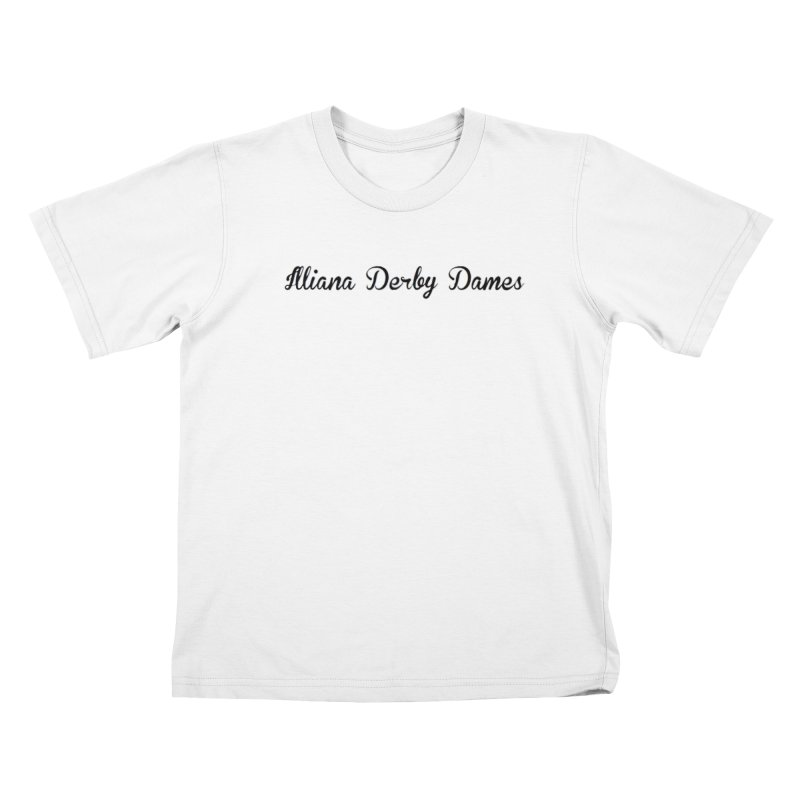 Black IDD script Kids T-Shirt by Illiana Derby Dames's Team Merch Shop
