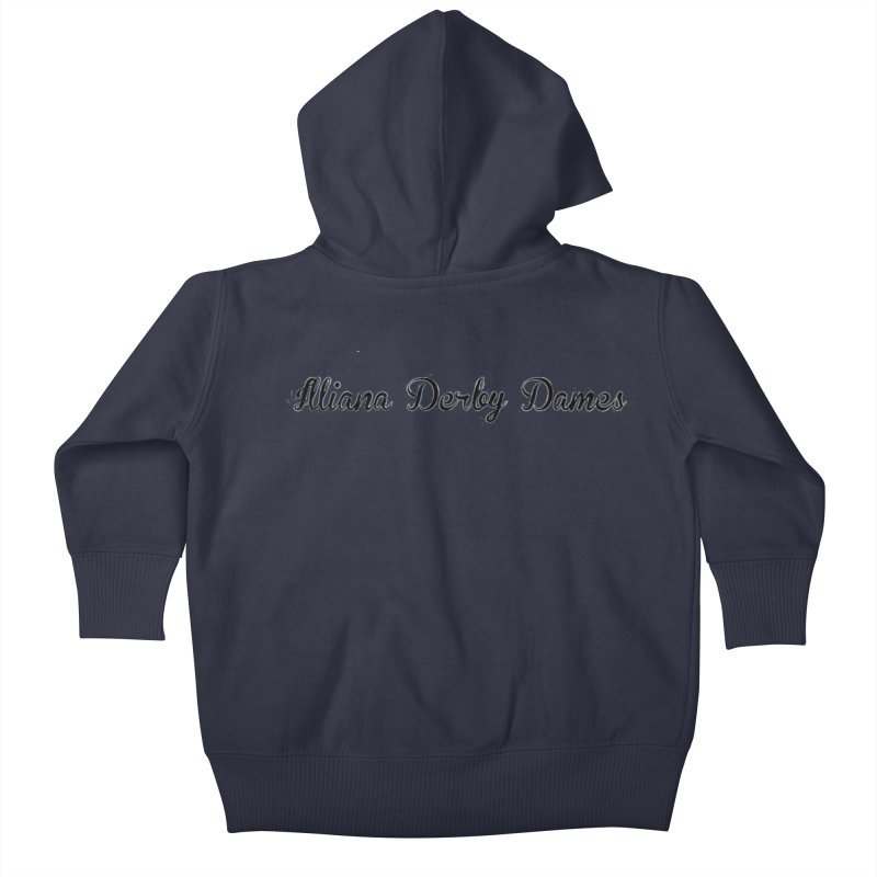 Black IDD script Kids Baby Zip-Up Hoody by Illiana Derby Dames's Team Merch Shop