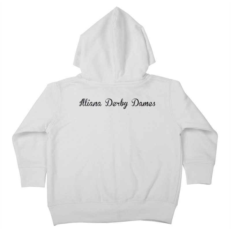 Black IDD script Kids Toddler Zip-Up Hoody by Illiana Derby Dames's Team Merch Shop