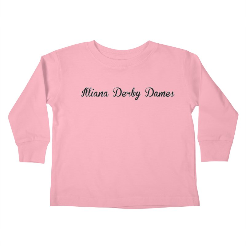 Black IDD script Kids Toddler Longsleeve T-Shirt by Illiana Derby Dames's Team Merch Shop