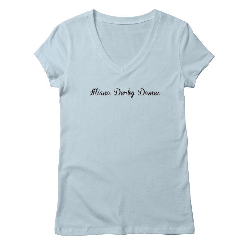 Black IDD script Women's Regular V-Neck by Illiana Derby Dames's Team Merch Shop