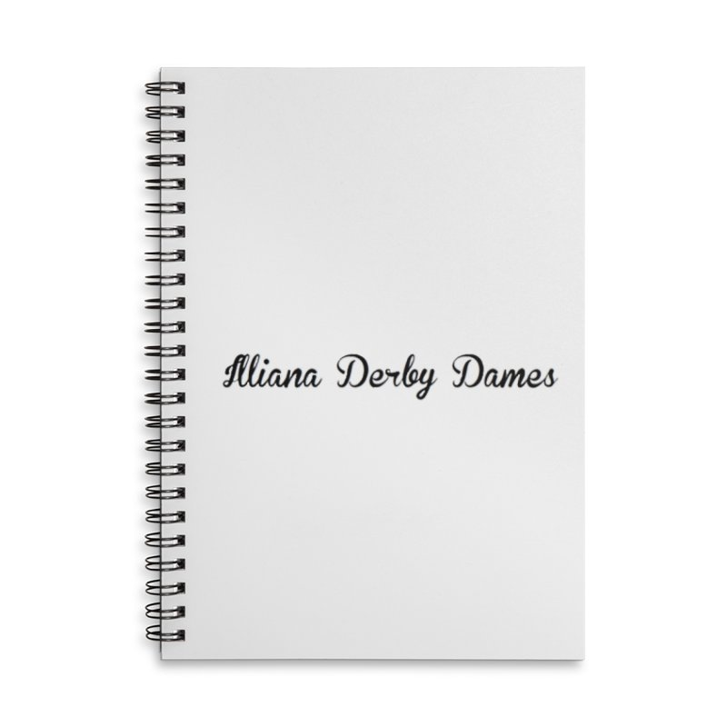 Black IDD script Accessories Lined Spiral Notebook by Illiana Derby Dames's Team Merch Shop