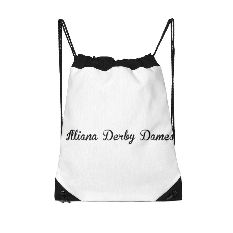 Black IDD script Accessories Drawstring Bag Bag by Illiana Derby Dames's Team Merch Shop