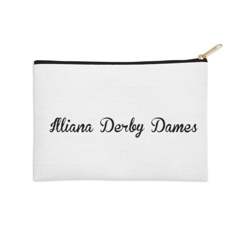 Black IDD script Accessories Zip Pouch by Illiana Derby Dames's Team Merch Shop