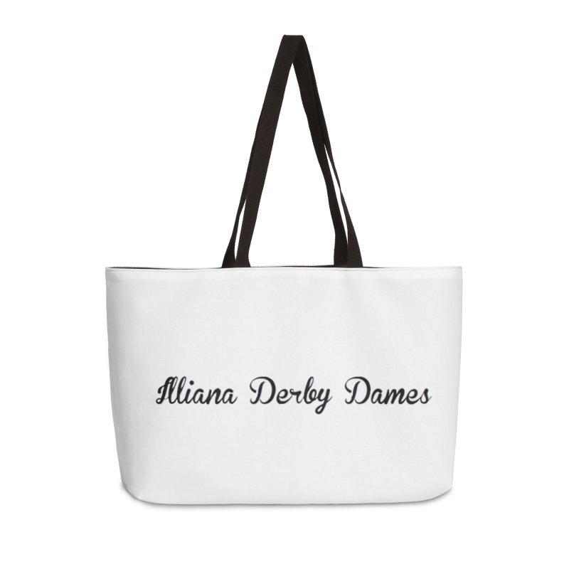 Black IDD script Accessories Weekender Bag Bag by Illiana Derby Dames's Team Merch Shop