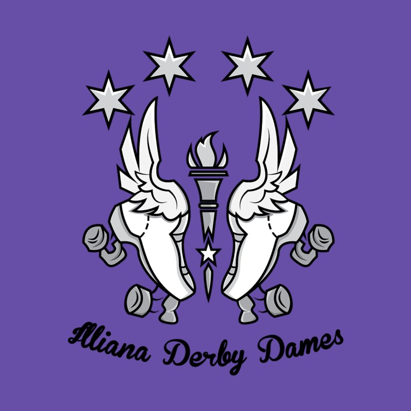 Logo with black letters and purple background by Illiana Derby Dames's Team Merch Shop