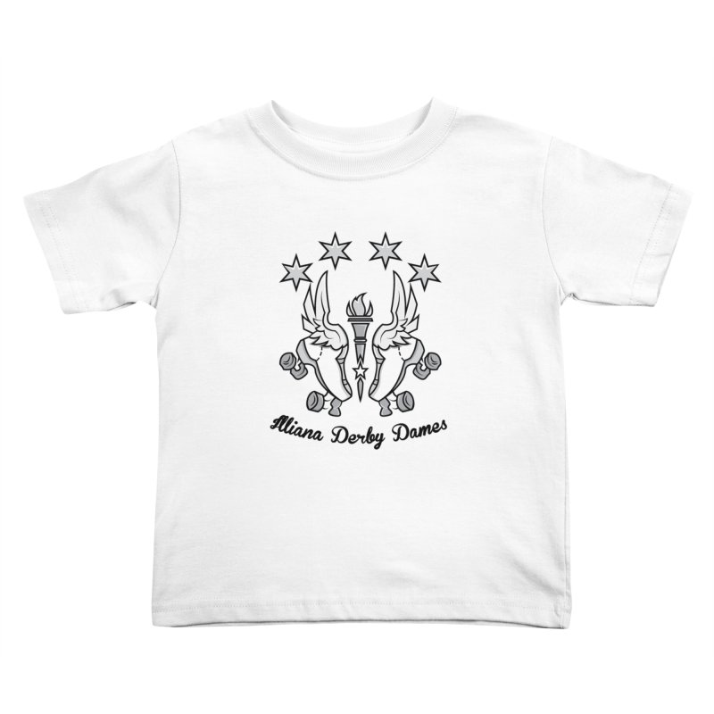 Logo with black letters and purple background Kids Toddler T-Shirt by Illiana Derby Dames's Team Merch Shop