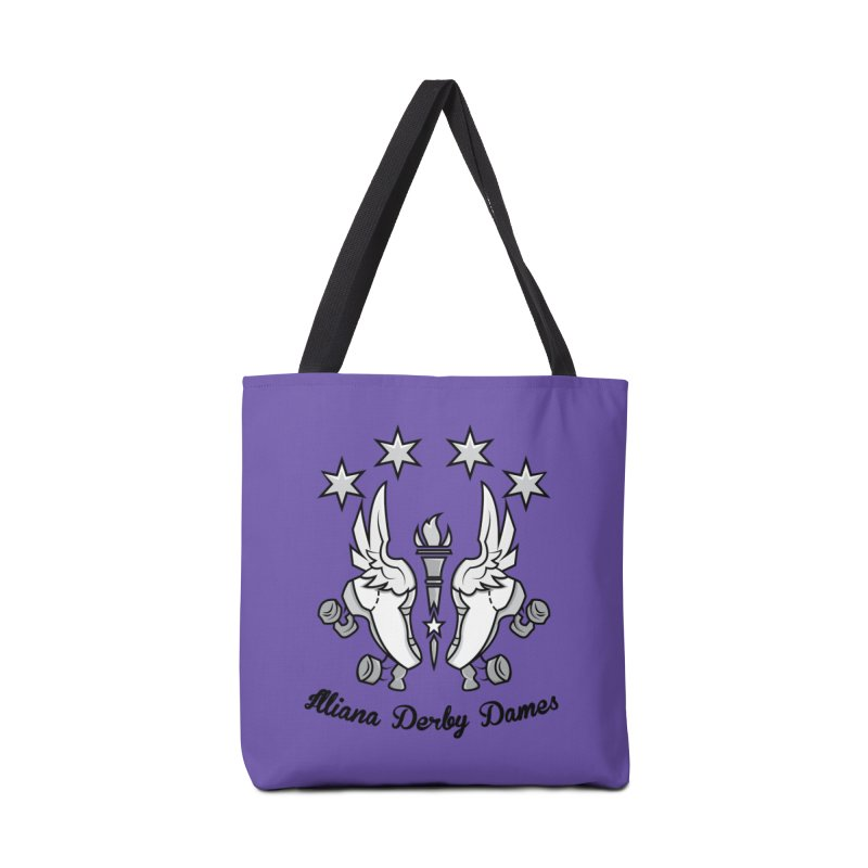 Logo with black letters and purple background Accessories Tote Bag Bag by Illiana Derby Dames's Team Merch Shop