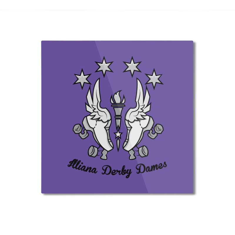 Logo with black letters and purple background Home Mounted Aluminum Print by Illiana Derby Dames's Team Merch Shop