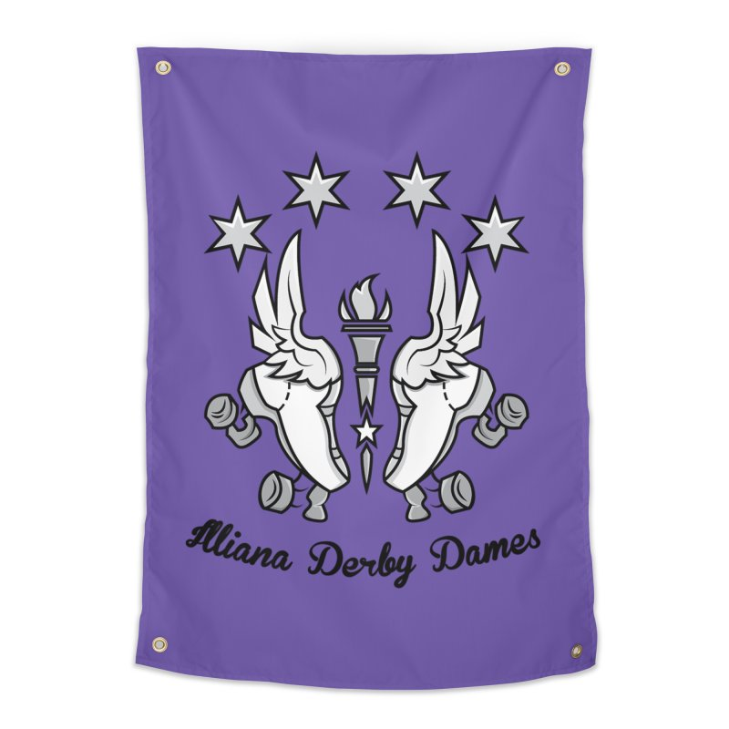 Logo with black letters and purple background Home Tapestry by Illiana Derby Dames's Team Merch Shop