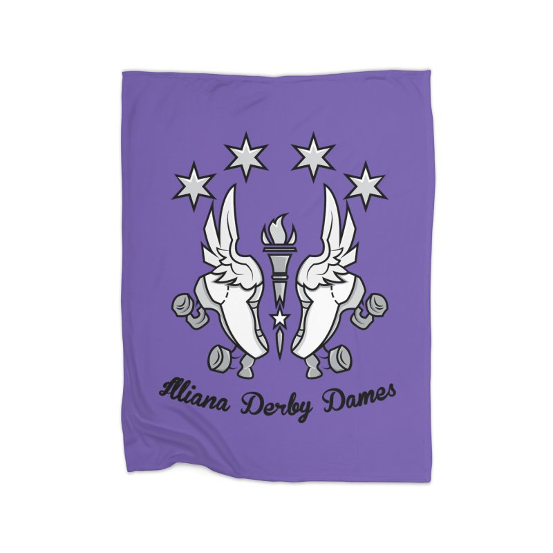 Logo with black letters and purple background Home Fleece Blanket Blanket by Illiana Derby Dames's Team Merch Shop