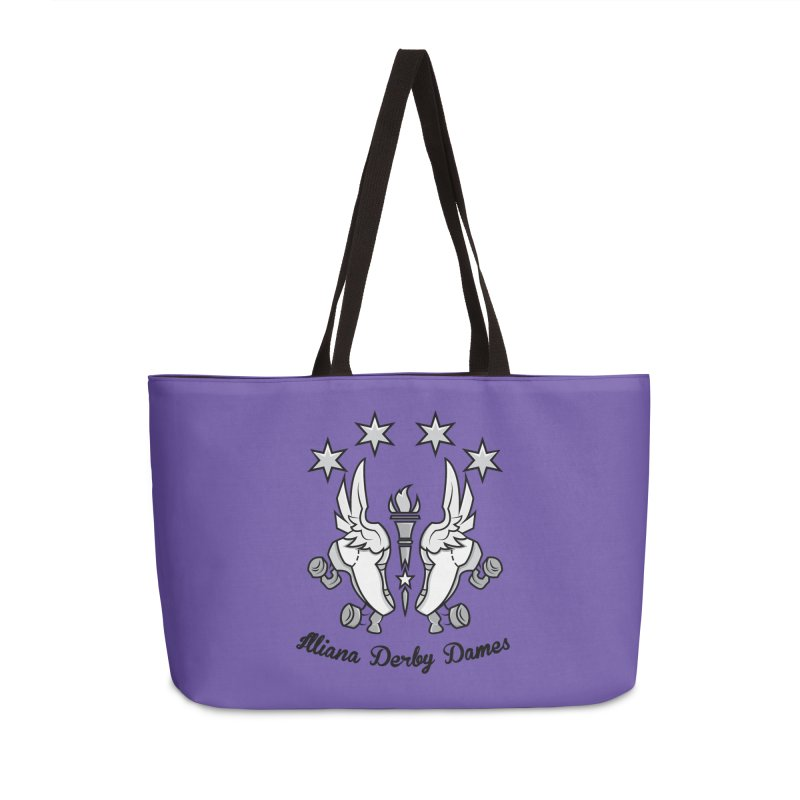 Logo with black letters and purple background Accessories Weekender Bag Bag by Illiana Derby Dames's Team Merch Shop