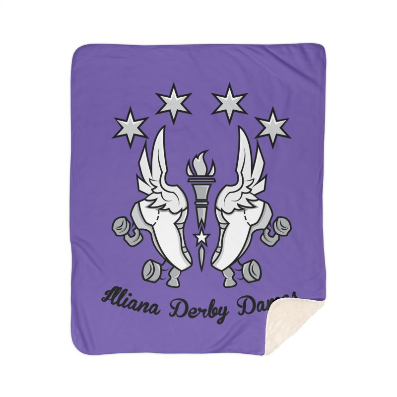 Logo with black letters and purple background Home Sherpa Blanket Blanket by Illiana Derby Dames's Team Merch Shop