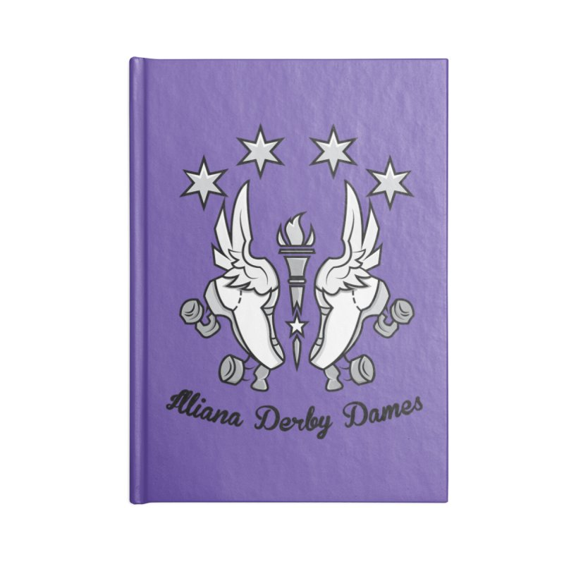 Logo with black letters and purple background Accessories Notebook by Illiana Derby Dames's Team Merch Shop