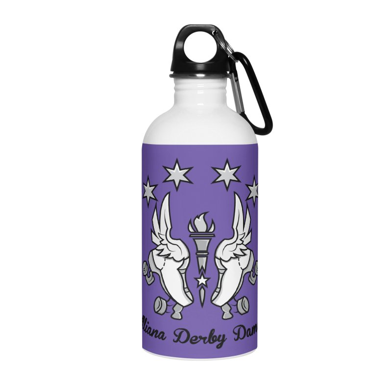 Logo with black letters and purple background Accessories Water Bottle by Illiana Derby Dames's Team Merch Shop