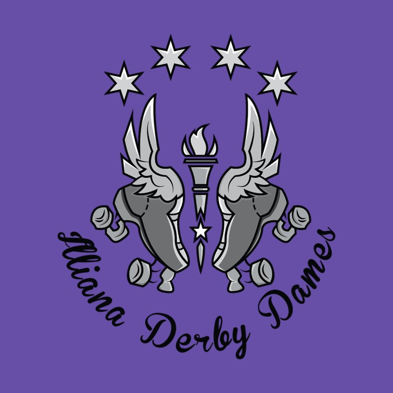 IDD dark logo with purple background by Illiana Derby Dames's Team Merch Shop