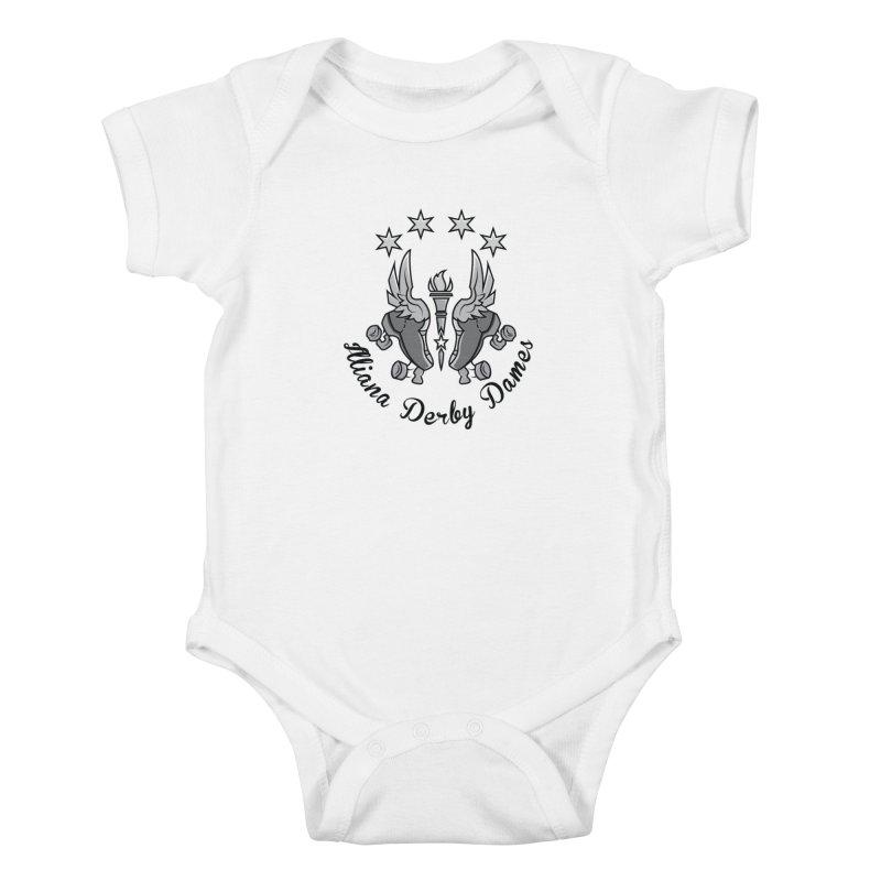 IDD dark logo with purple background Kids Baby Bodysuit by Illiana Derby Dames's Team Merch Shop