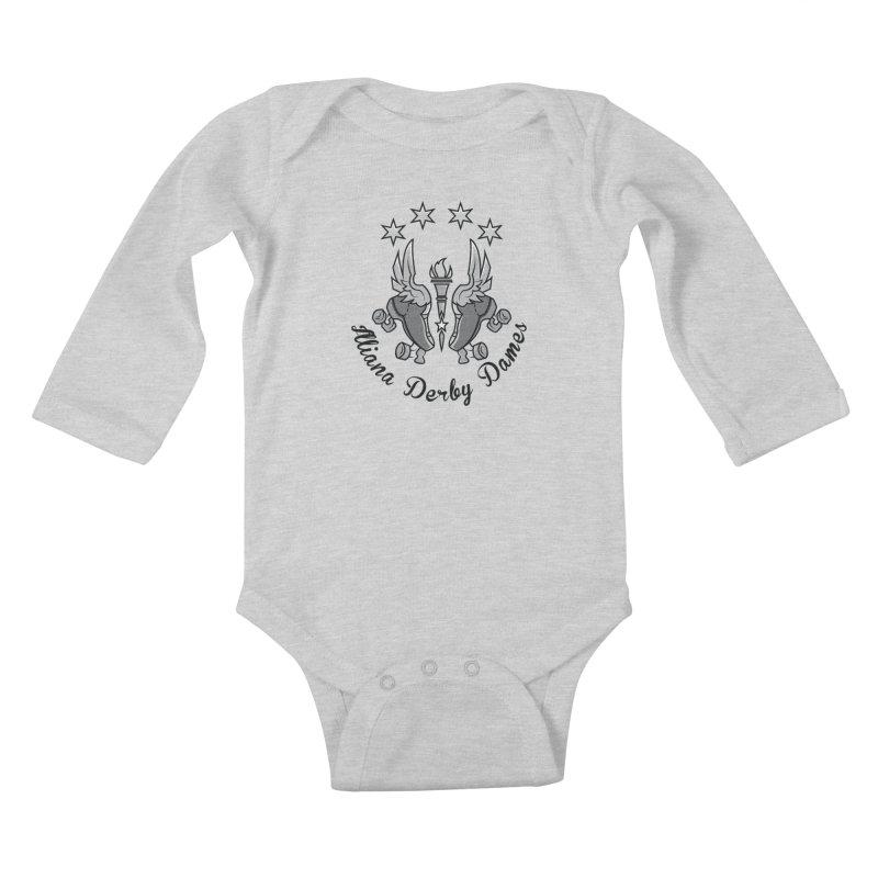 IDD dark logo with purple background Kids Baby Longsleeve Bodysuit by Illiana Derby Dames's Team Merch Shop