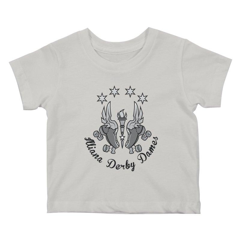 IDD dark logo with purple background Kids Baby T-Shirt by Illiana Derby Dames's Team Merch Shop