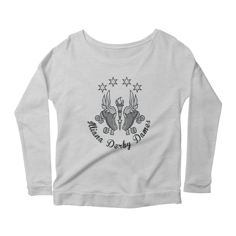 IDD dark logo with purple background Women's Scoop Neck Longsleeve T-Shirt by Illiana Derby Dames's Team Merch Shop