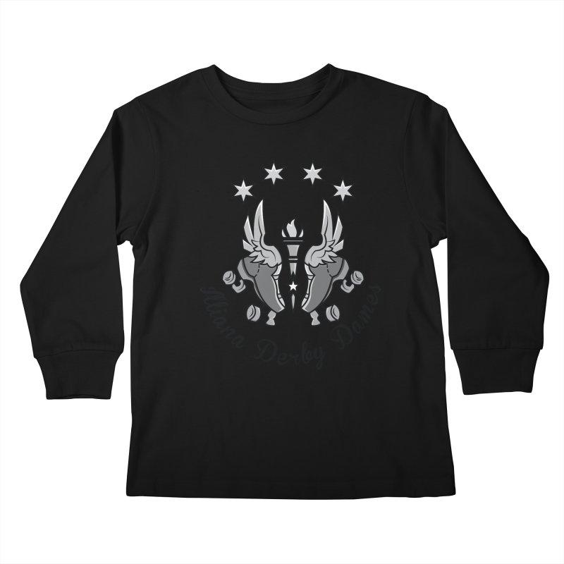 IDD dark logo with purple background Kids Longsleeve T-Shirt by Illiana Derby Dames's Team Merch Shop