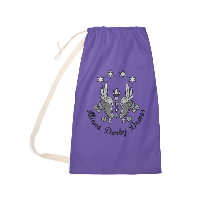 IDD dark logo with purple background Accessories Laundry Bag Bag by Illiana Derby Dames's Team Merch Shop