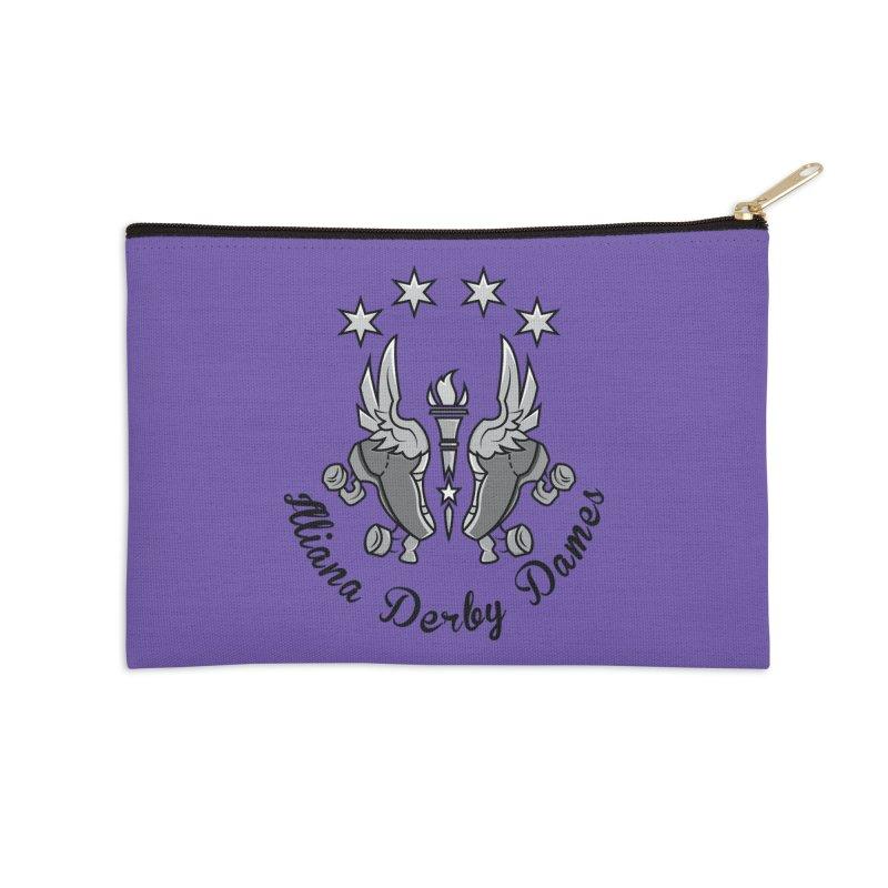 IDD dark logo with purple background Accessories Zip Pouch by Illiana Derby Dames's Team Merch Shop