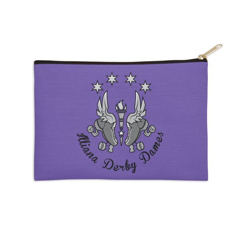 IDD dark logo with purple background Accessories Zip Pouch by Illiana Derby Dames's Team Merch Shop