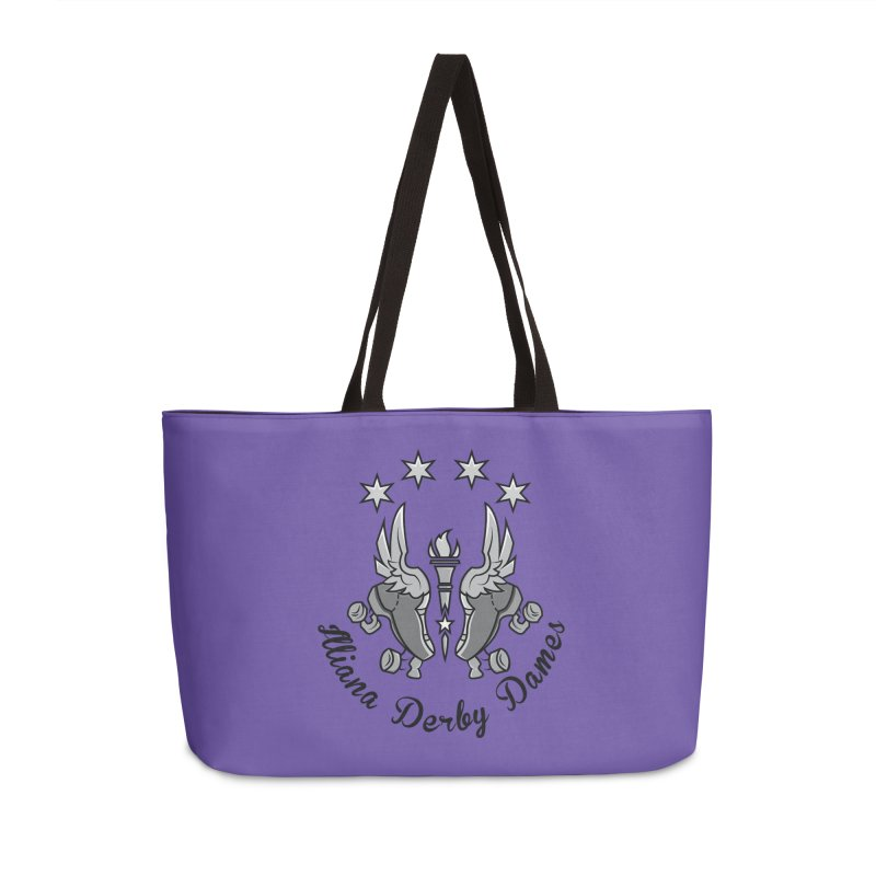 IDD dark logo with purple background Accessories Weekender Bag Bag by Illiana Derby Dames's Team Merch Shop