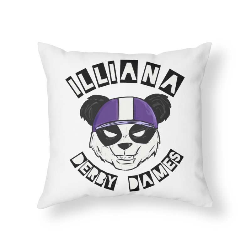 Pandamonium Home Throw Pillow by Illiana Derby Dames's Team Merch Shop