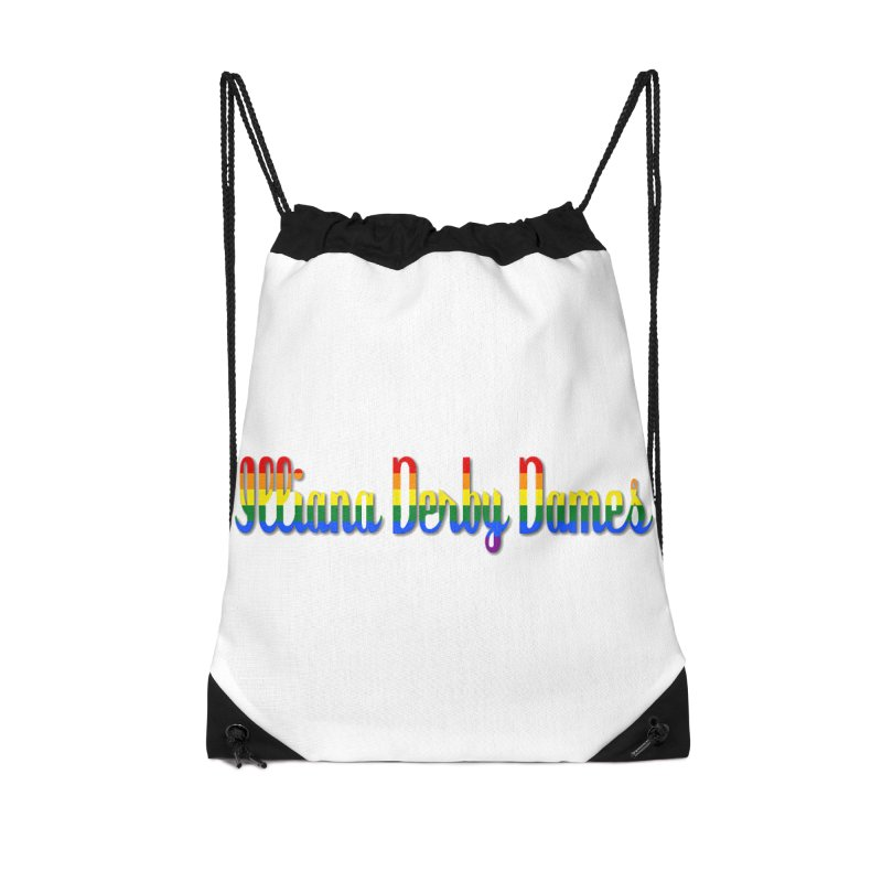 Rainbow IDD Accessories Drawstring Bag Bag by Illiana Derby Dames's Team Merch Shop