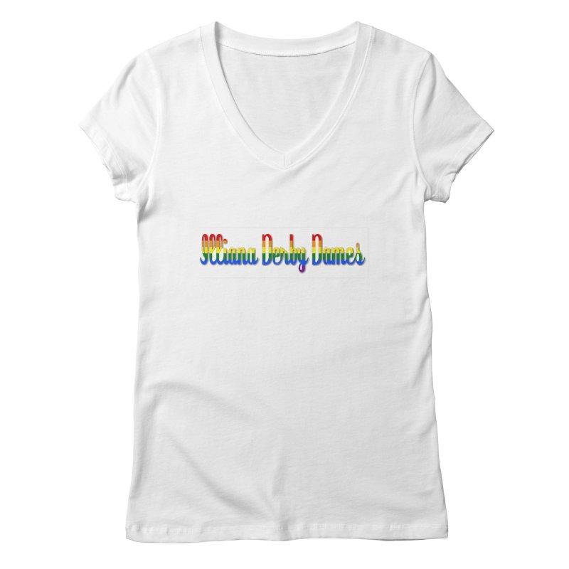 Rainbow IDD Women's Regular V-Neck by Illiana Derby Dames's Team Merch Shop