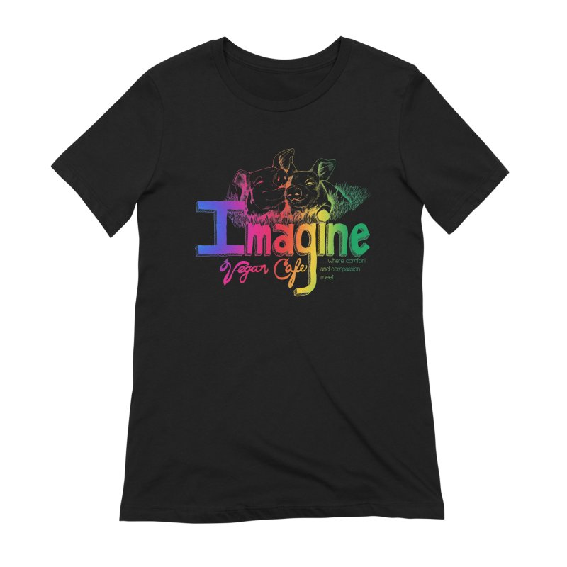 Imagine Rainbow Women's Extra Soft T-Shirt by Imaginevegancafe's Artist Shop