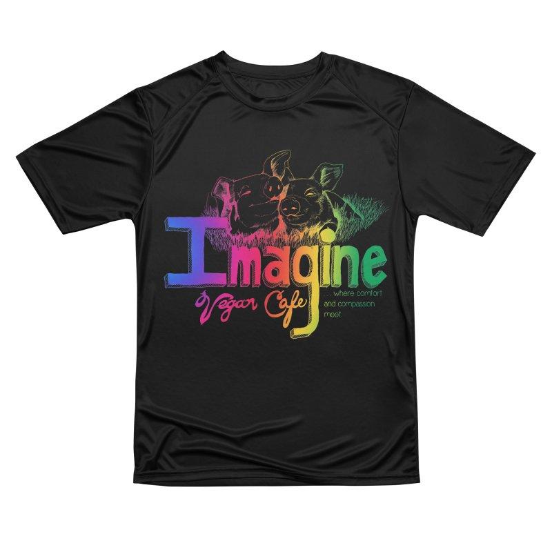 Imagine Rainbow Men's T-Shirt by Imaginevegancafe's Artist Shop