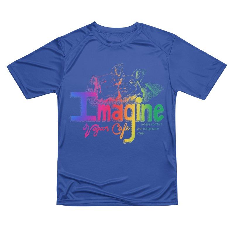 Imagine Rainbow Women's Performance Unisex T-Shirt by Imaginevegancafe's Artist Shop