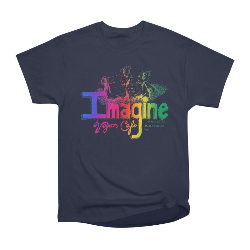 Imagine Rainbow Men's Heavyweight T-Shirt by Imaginevegancafe's Artist Shop
