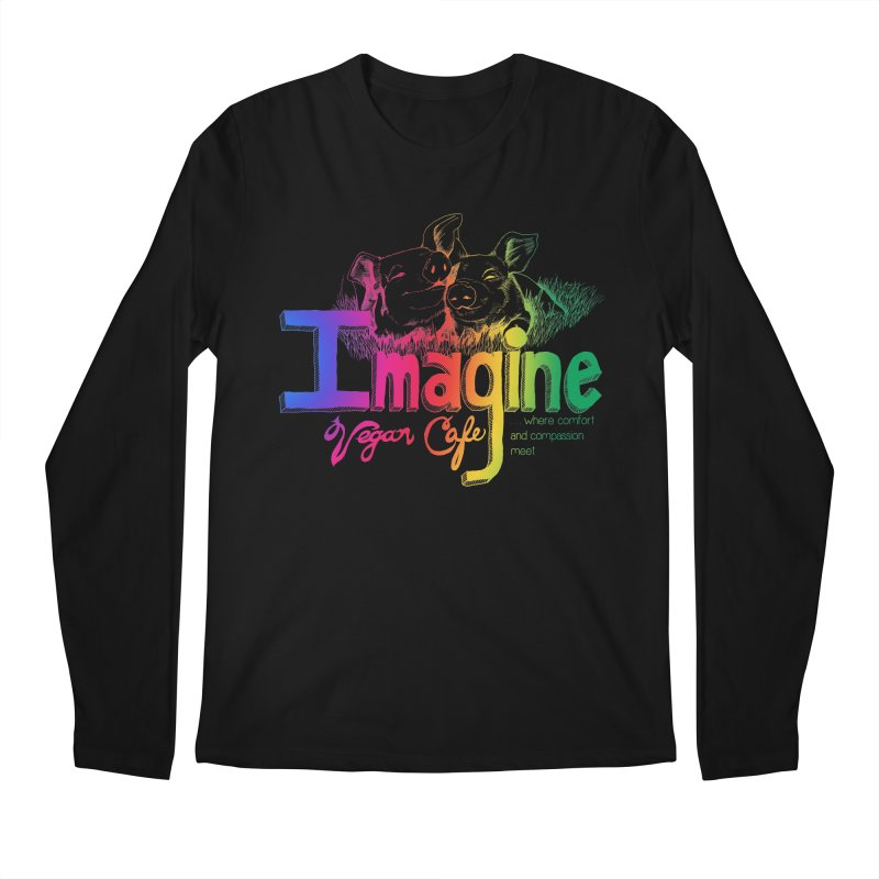 Imagine Rainbow Men's Regular Longsleeve T-Shirt by Imaginevegancafe's Artist Shop