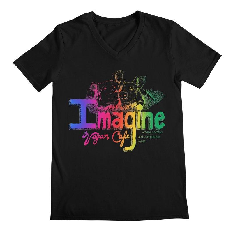 Imagine Rainbow Men's Regular V-Neck by Imaginevegancafe's Artist Shop