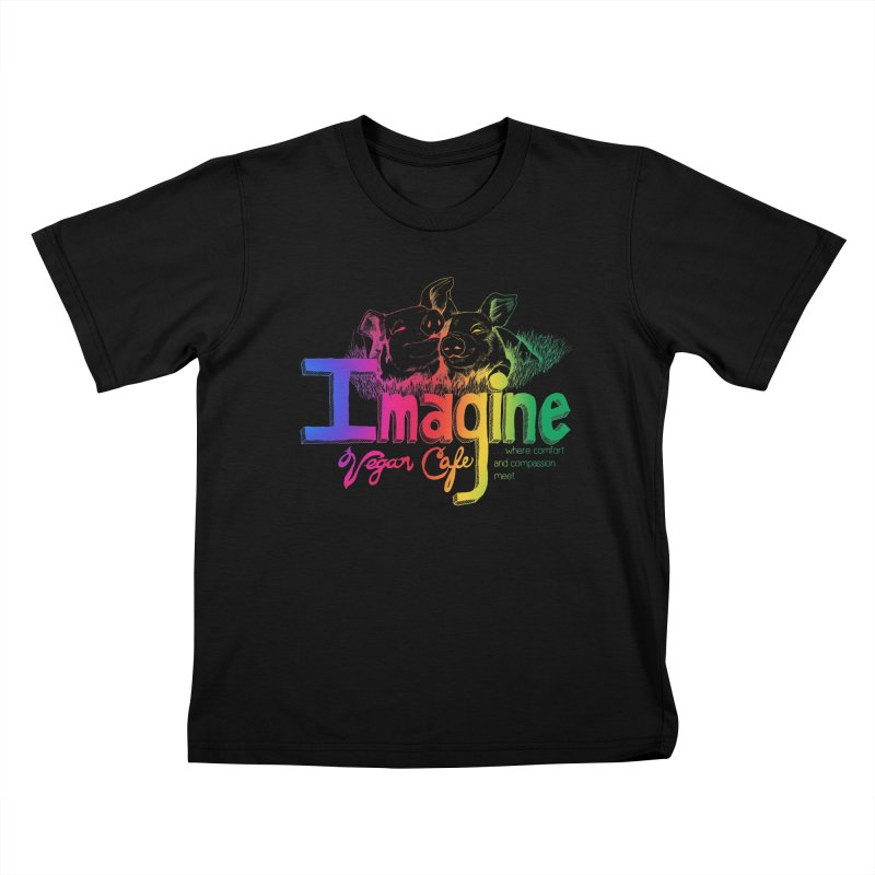 Imagine Rainbow Kids T-Shirt by Imaginevegancafe's Artist Shop