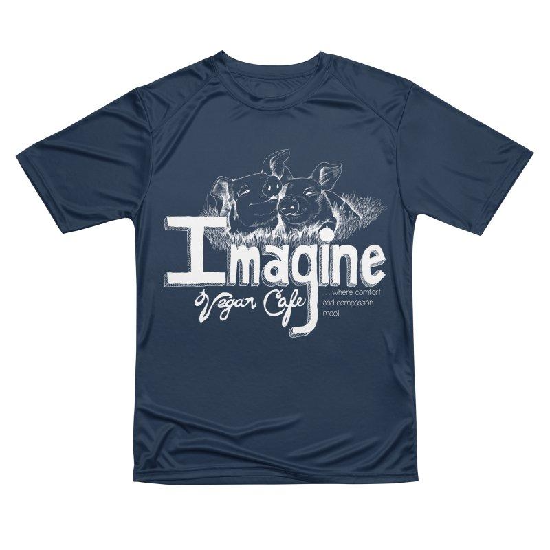 Imagine White Women's Performance Unisex T-Shirt by Imaginevegancafe's Artist Shop