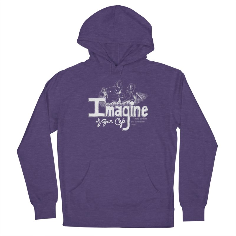 Imagine White Men's French Terry Pullover Hoody by Imaginevegancafe's Artist Shop