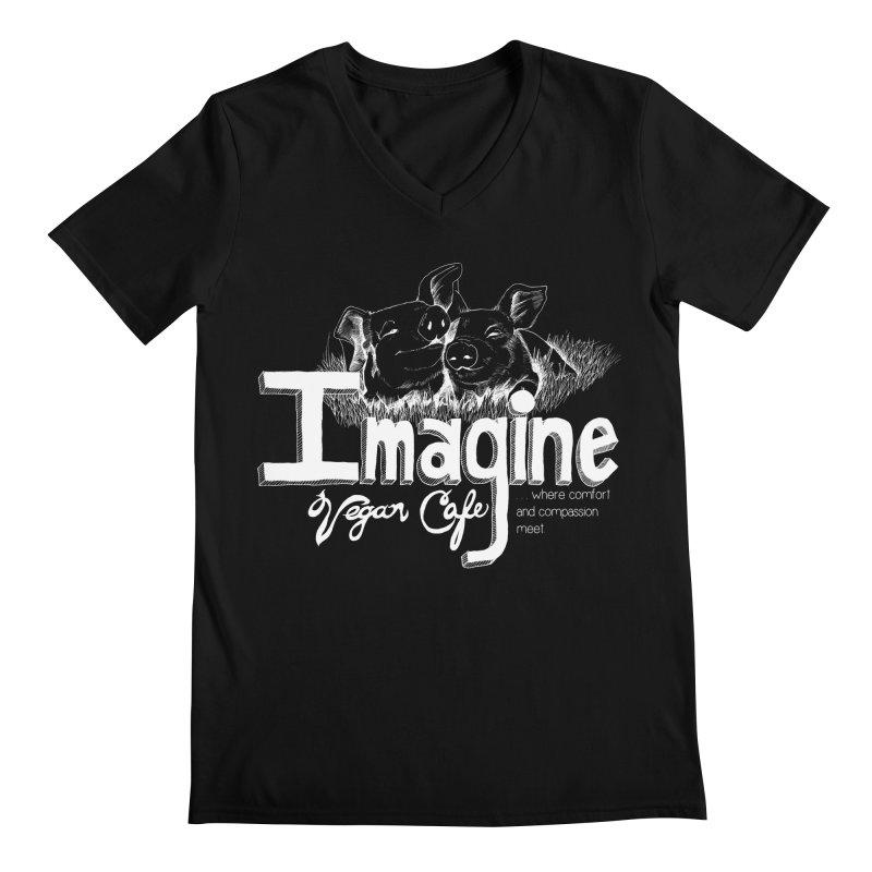 Imagine White Men's Regular V-Neck by Imaginevegancafe's Artist Shop