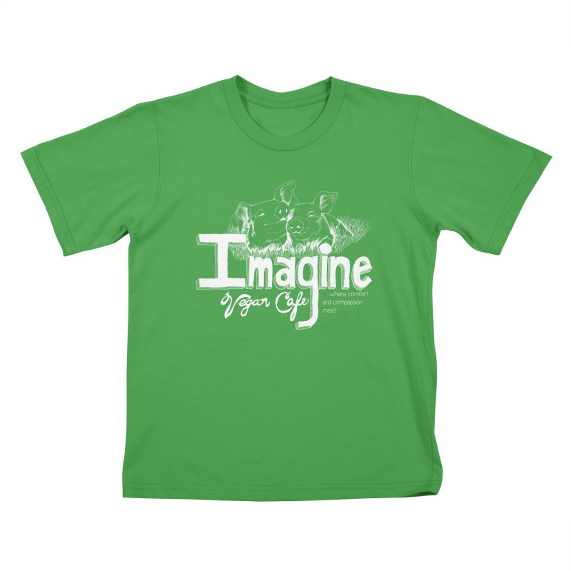 Imagine White Kids T-Shirt by Imaginevegancafe's Artist Shop