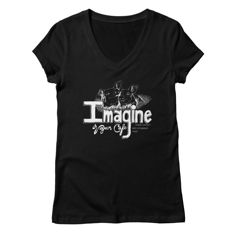 Imagine White Women's Regular V-Neck by Imaginevegancafe's Artist Shop